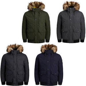 Jack & Jones Parka Mens Jacket Winter Bomber Faux Fur Trim Lined Hooded Coat