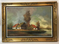 """Stunning Large Oil On Canvas Art~Countryside~Ornate Carved Wooden Frame~42""""x30"""""""
