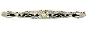 Antique Art Deco 14K White Gold Diamond & Black Enamel Etched Filigree Bar Pin