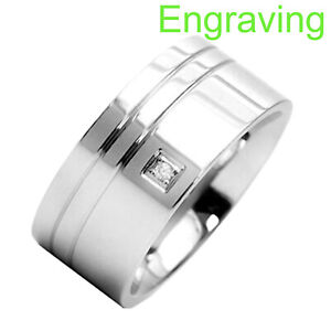 10mm Stainless Steel Groove High Polish Top Round CZ Men's Wedding Solitaire