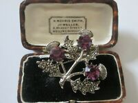 VINTAGE SIGNED MIRACLE AMETHYST SCOTTISH THISTLE FAUX MARCASITE BROOCH KILT PIN