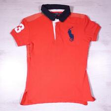 Boys RALPH LAUREN Red Vintage Designer Polo Shirt Medium #F2057
