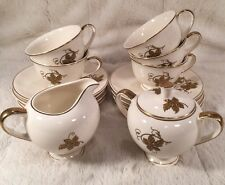 "15 Pc Vintage CORONET BY SALEM ""COIN-LEAVES"" China Creamer Sugar Tea Cups +"