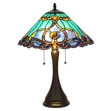 Vibrant Stained Cut Glass Victorian Tiffany Style Table Desk Lamp
