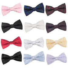 DQT Premium Woven Jacquard Swirl Wedding Pre-Tied Men's / Boys Bow Tie