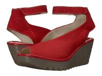 Fly London Women's Yala Perf Wedge Sandals - Lipstick Red Cupido/Mousse
