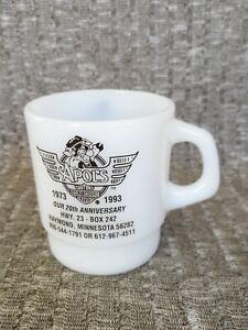 Vintage Milk Glass Mug Apol's Harley Davidson Raymond MN Advertising