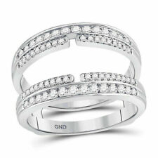Double Row Bisected Wrap Guard Enhancer 14kt White Gold Womens Round Diamond