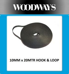 10mm Hook and Loop roll 20 metre Double Sided Heavy Duty 20m Black