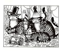 New Years Eve Cats Party Hats Streamers Kliban Cat Print Black White Vintage