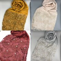 Plain Gold Pearl Lace Pearl Scarf Hijab Sarong Large Cotton Maxi Shawl Wrap Maxi