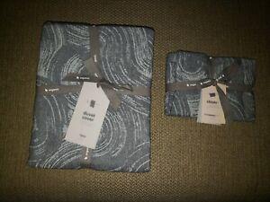 WEST ELM / organic dark grey Flannel Brushstrokes/ TWIN DUVET + 1 standard sham