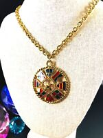 TRIFARI TM GOLD-TONE CHAIN NECKLACE NAUTICAL STAINED GLASS MEDALLION PENDANT