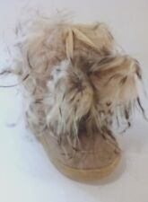 New Toddler Beige Girls Fluffy Fur Dressing Winter Boots Shoes Size 1