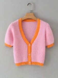 Cute Pink & Orange Cardigan/Sweater Women *Fast Delivery*