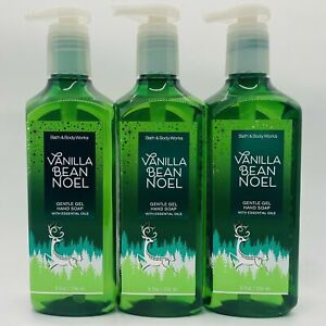 3-Pack Bath & Body Works VANILLA BEAN NOEL Gentle Gel Hand Soap Wash 8 fl.oz