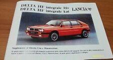 Lancia delta hf integrale 16 vannes supplément livret utilisation et entretien