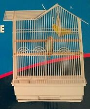 "New House Style Parakeet Bird Cage 18.5"" with 2 Perches, 2 Feeding Cups - White"