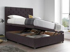 4.6ft Double Ottoman Bed in Silver Crushed Velvet  Superb for Storage