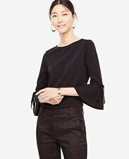 NWT Ann Taylor Tie Flare Sleeve Top Blouse. Black. XS
