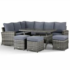 Club Rattan Harmony Garden Corner Sofa with Dining Table and 3 Stools in Grey