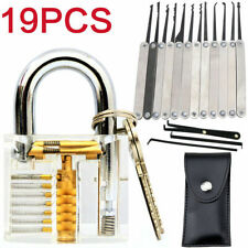 19PCS Unlocking Lock Pick Set Key Extractor Transparent Practice Padlocks