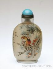 """3.66"""" Old Handmade Painted """"Monkey & Cock"""" Inside Painted Glass Snuff Bottle"""