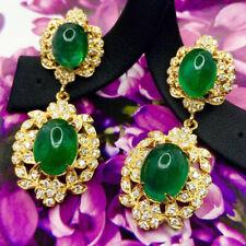 2.08ct NATURAL DIAMOND 14K YELLOW GOLD EMERALD ANNIVERSARY DANGLER EARRING