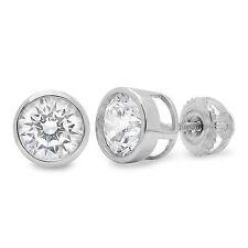 2.0 ct Brilliant Bezel Round Cut Earring Stud Screw Backs  Solid 14k White Gold