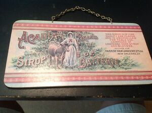 Vintage Acadia Brand Sirop De Batterie Wooden Advertising Sign