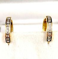 DAZZLING 10K SOLID YELLOW GOLD .14 CTW 14 ROUND DIAMOND HUGGIE PIERCED EARRINGS