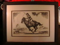 HAND SIGNED LTD EDITION LITHOGRAPH TITLED ROPE THE CRITTER BY JOHN A. BRUCE
