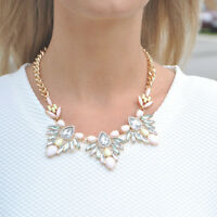 Statement Gold Chunky Bib Necklace Pink Floral Pastel Collar |FREE P&P & 50% OFF