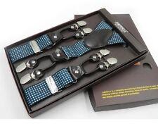 Luxury Suspenders Adjustable 6 Leather Clips Y Back Braces Men Fashion Gift Sets