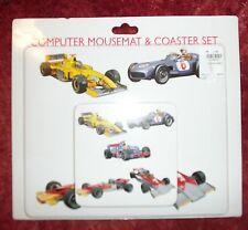 Mousemat + Coaster Set con immagini di auto da corsa