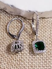 5MM SQUARE CUT LAB CREATED EMERALD & CZ SOLITAIRE HALO LEVERBACK EARRINGS