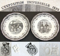 "Antique French Figural Cabinet Plate Pair, ""L'Exposition Universelle 1878"""