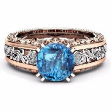 Rose Gold Filled Sapphire White Zircon Topaz Gemstone Flower Ring Wedding Band