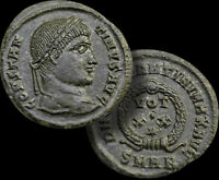 CONSTANTINE l. (The GREAT) Emperor 307-337 AD Follis Bronze Coin +COA, WREATH