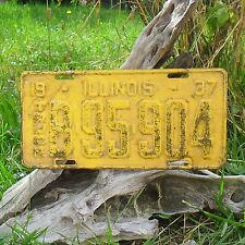 Véritable Plaque D'Immatriculation 'ILLINOIS (1220866) USA  License Plate 1937
