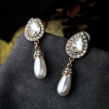 Crystal Diamante Pearl Drop Earrings Deco 1920s Hollywood Glamour Drop BRIDE UK