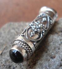 925 Sterling Silver-LU02-Balinese Pendant Perfume Locket With Black Onyx