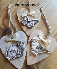3 X Christmas Hanging Decorations Shabby Chic Country Woodland Real Wood
