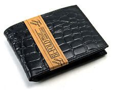 Crocodile Print Mens Bifold Leather Wallet Black Id Window Credit Card Billfold
