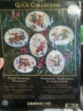 DIMENSIONS PLAYFUL SNOWMEN COUNTED CROSS STITCH - 6 ORNAMENTS - New !!!