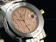 NOS Croton Mens 40mm Swiss ETA 2824 Automatic Sapphire Crystal Salmon Dial Watch