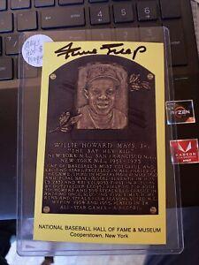 Willie Mays Signed Yellow HOF Plaque Postcard Autographed AUTO JSA COA Giants