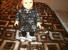 American Girl doll clothes skull&crossbones tunic/sneakers/black leggings