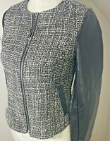 H & M Divided Size 10 Blazer Jacket Grey Black PVC & Boucle Tweed Smart Pockets