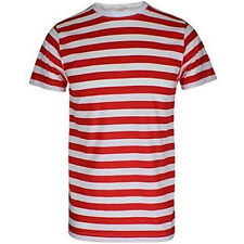 MENS RED AND WHITE STRIPE SHIRT BOYS CREW ROUND NECK FANCY PARTY WEAR S TO 2XL